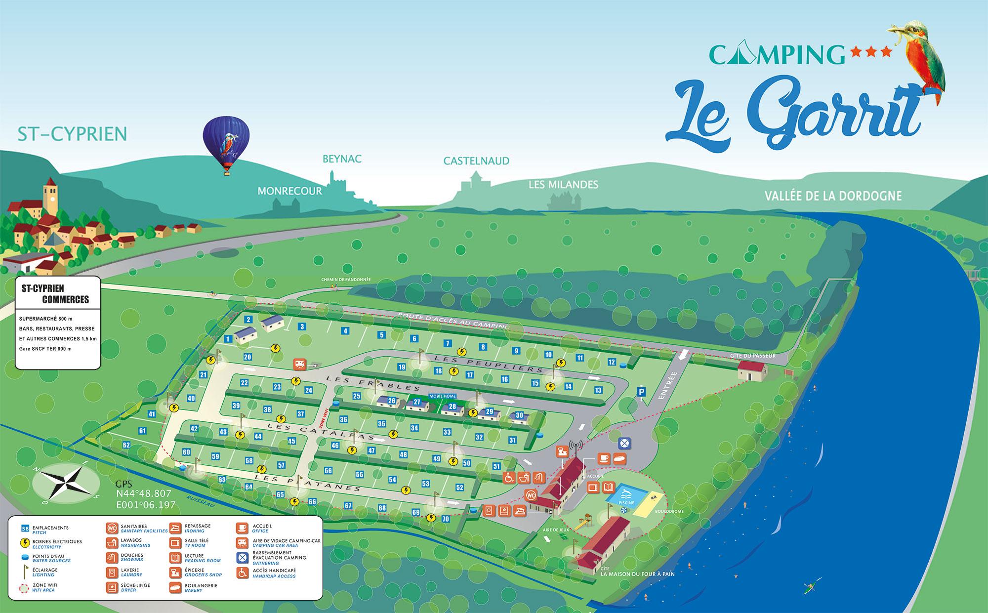 """Location de gîte en Périgord Dordogne """"Le Four à Pain"""" - Plan du camping Le Garrit en Dordogne Périgord Noir, à Saint-Cyprien près de Sarlat"""
