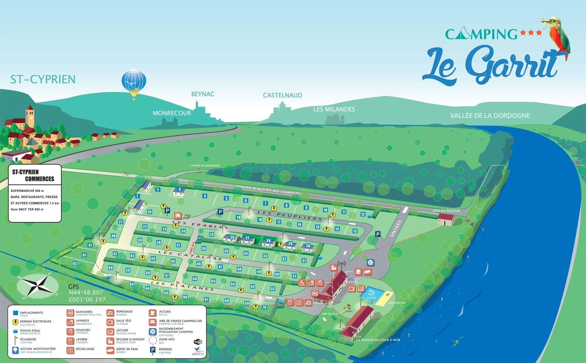 Situation du camping Le Garrit en Périgord Noir - Vallée de la Dordogne - Plan du camping