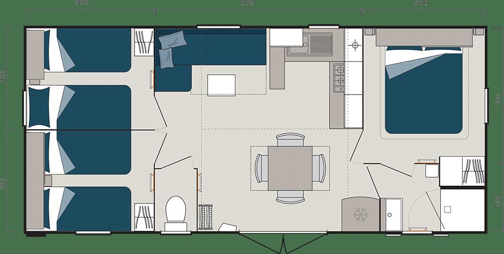 mobil-home 3 chambres plan Périgord noir